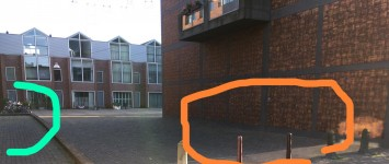 Fietsenstalling voor toegankelijke stoep en mooier straatbeeld - 3_gewenste_situatie_(oranje)_voorbeeldstalling_(groen)